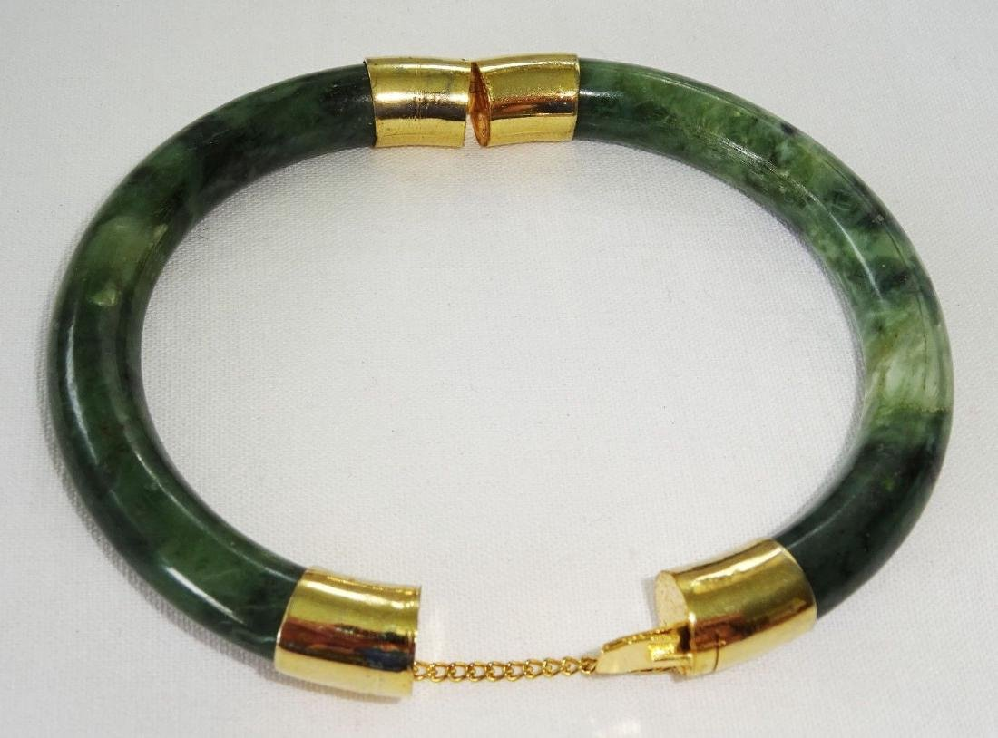 Vintage Green Spinach Jade Bangle 57 mm - 6