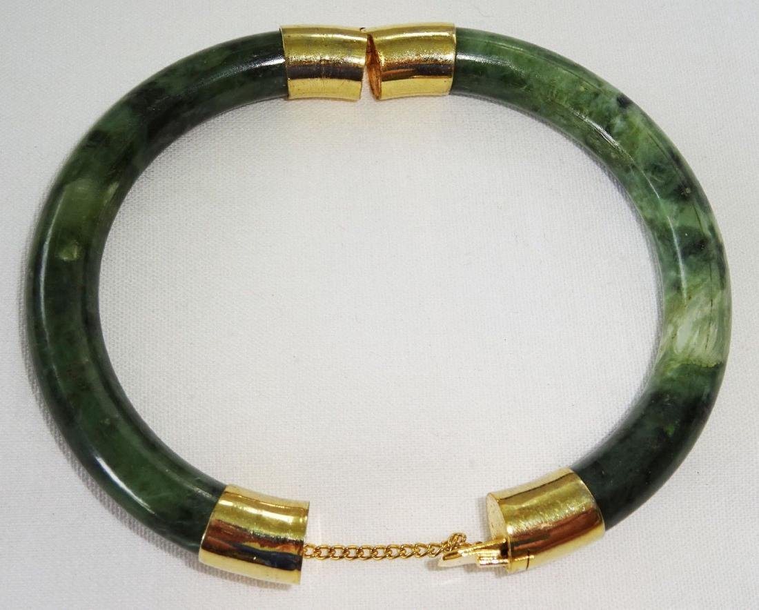 Vintage Green Spinach Jade Bangle 57 mm - 8