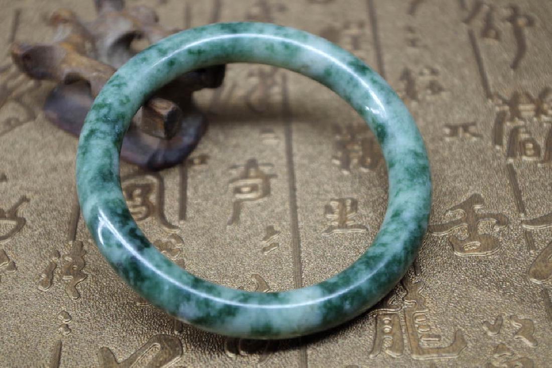 Old Chinese natural green jade bracelet - 61 mm