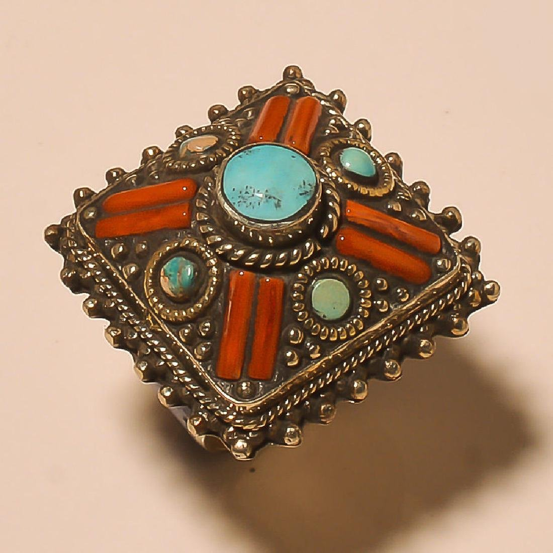 RED CORAL & TURQUOISE .925 SILVER RING SIZE- 10.25