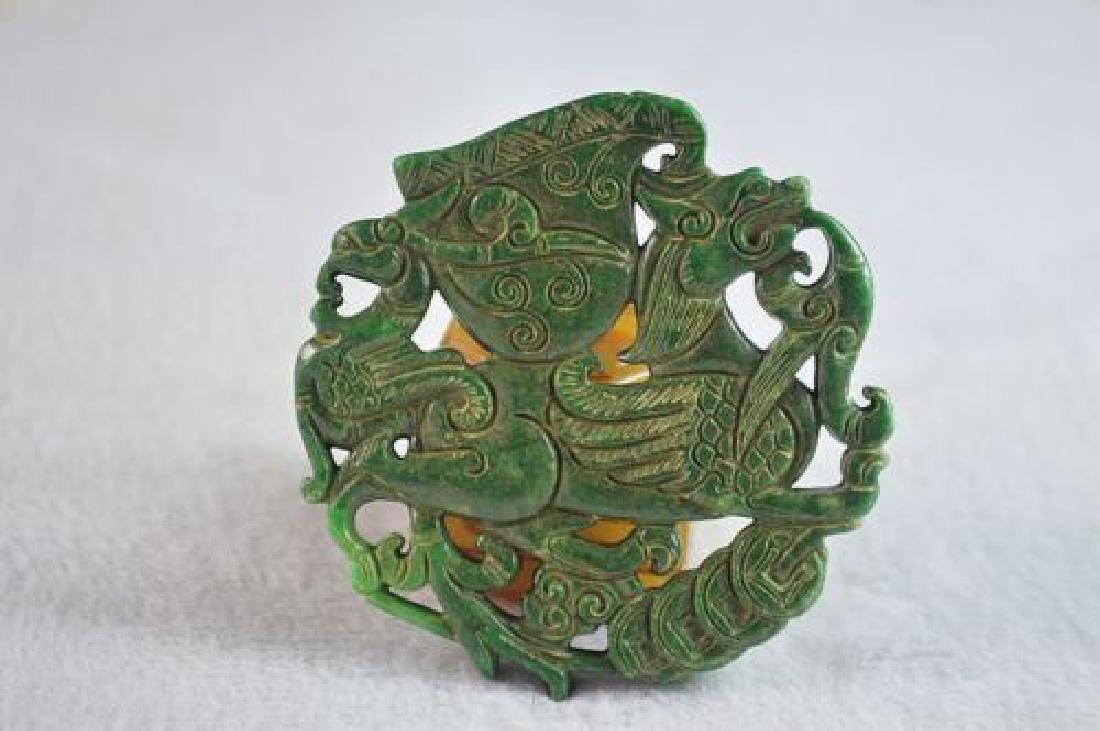 Natural Green Jade Carved  Pendant