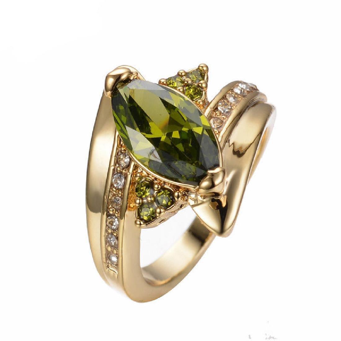 18K Yellow Gold Plated Peridot Ring. Size:9