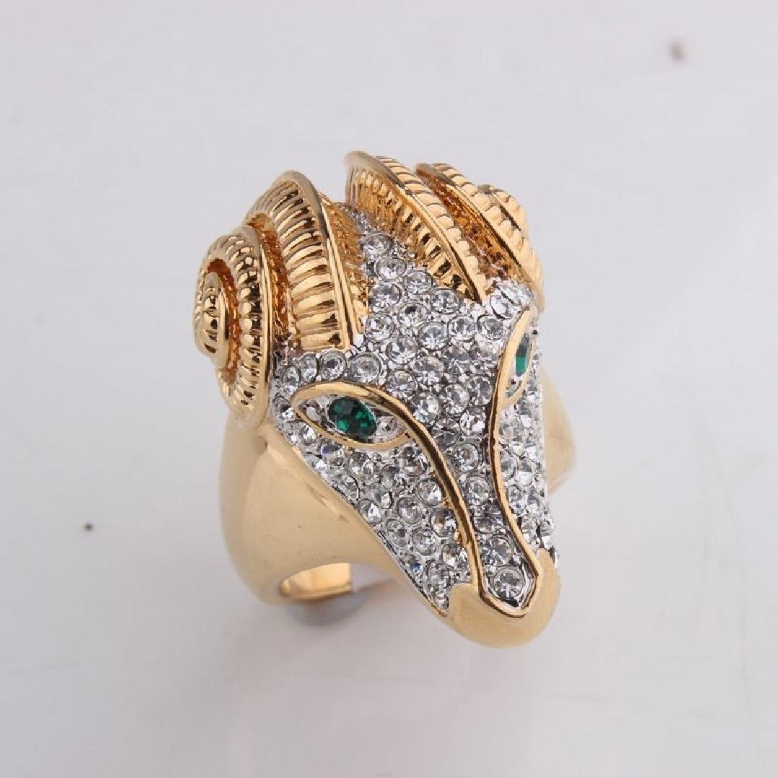 Beautiful Ram Head 18k Gold Plated Crystal Ring:Size:9