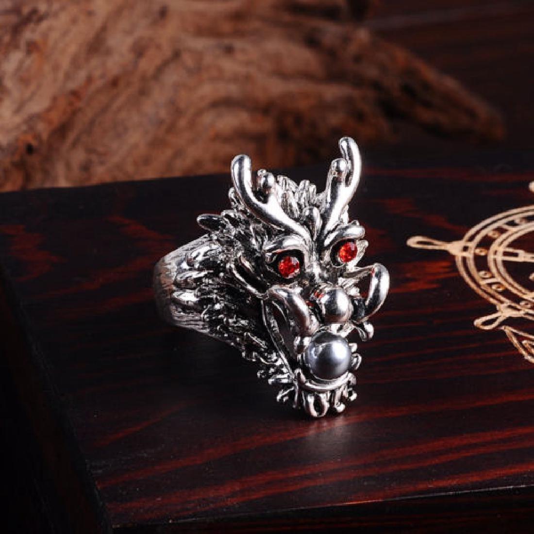 Ruby Eyes- Dragon Head  Silver Ring.Size:9