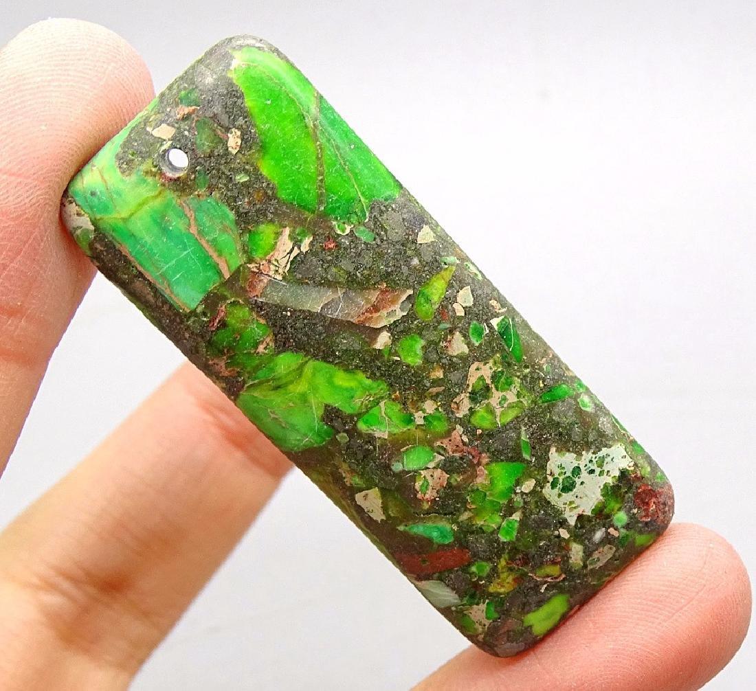 Natural Green Japer Sediment Stone Bead Pendant