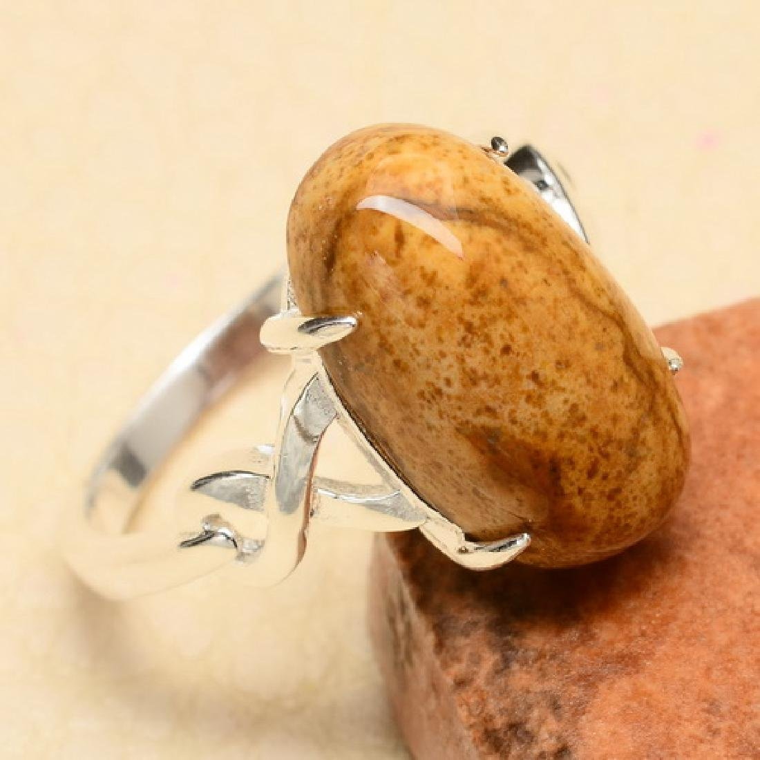 NATURAL JASPER 925 STERLING SILVER RING-SZ 7.
