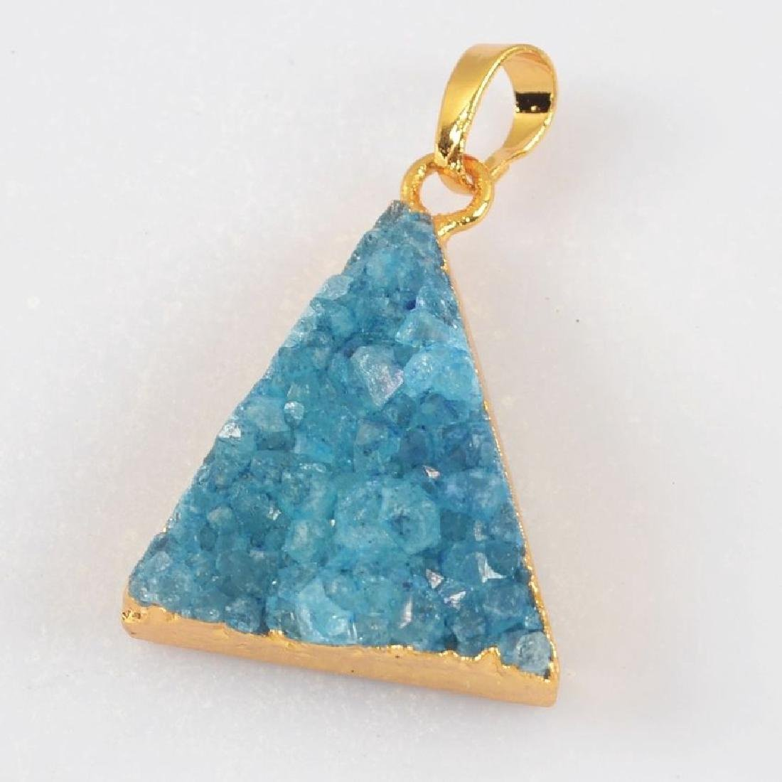 Blue Agate Druzy Geode Pendant Gold Plated. Size:(Appro
