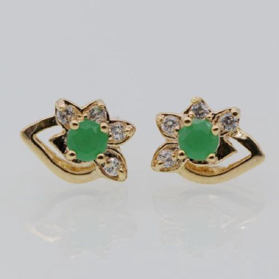 Flower Emerald White Zircon Stud Earring 18k Gold Plate
