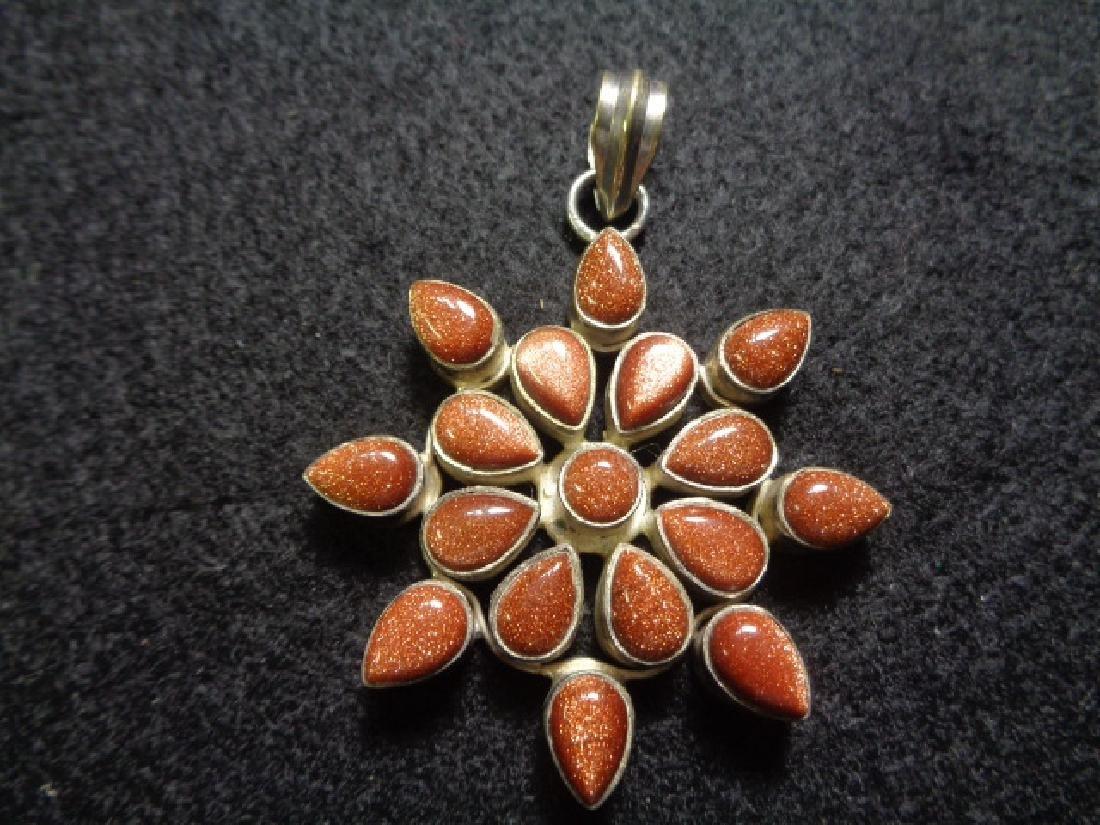 "Vintage 929 Silver Gold Stone Pendant:Size: 2""1/2 - Wei"