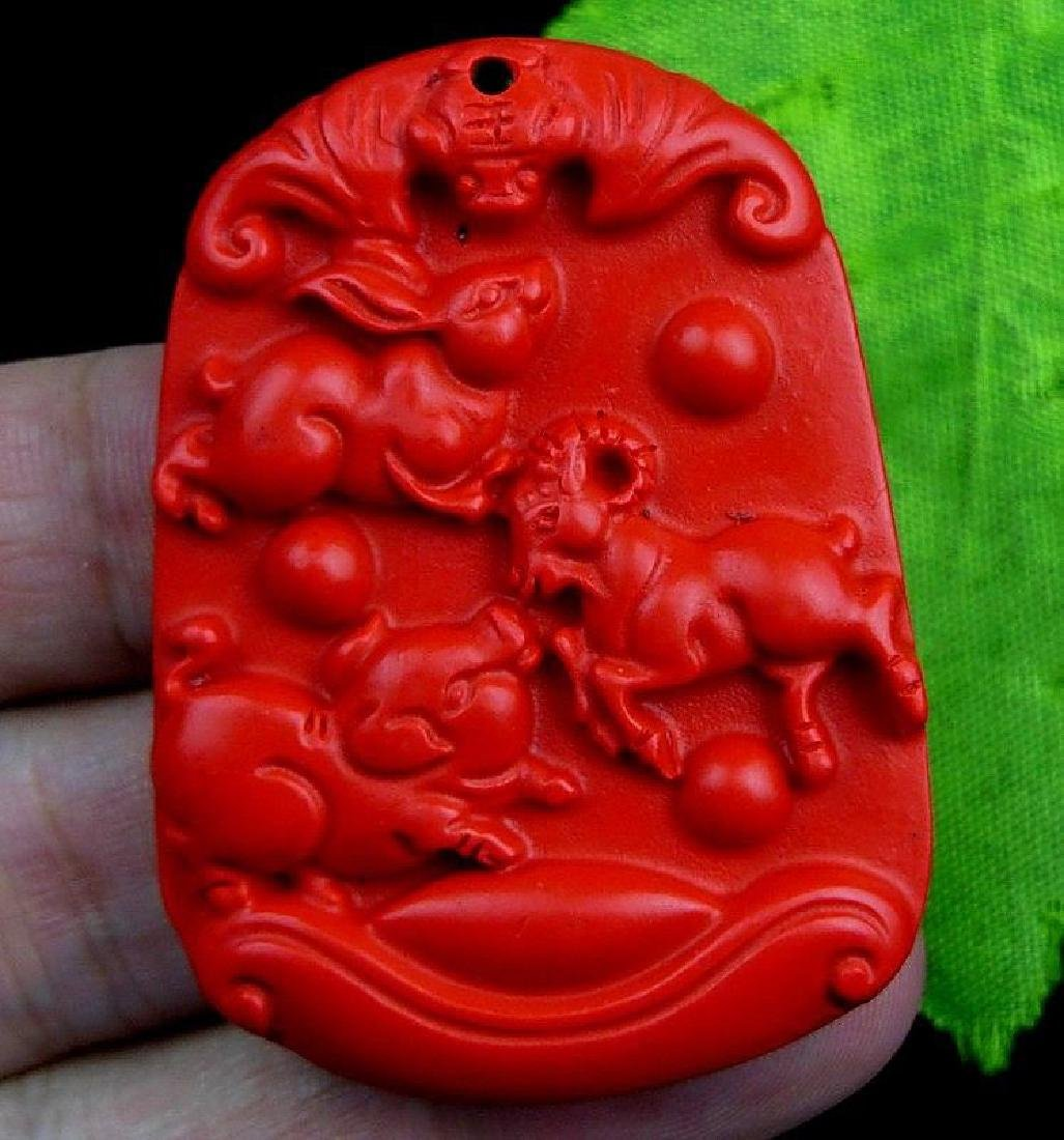 Cinnabar Carved Pendant. Figure: 51x38x7mm