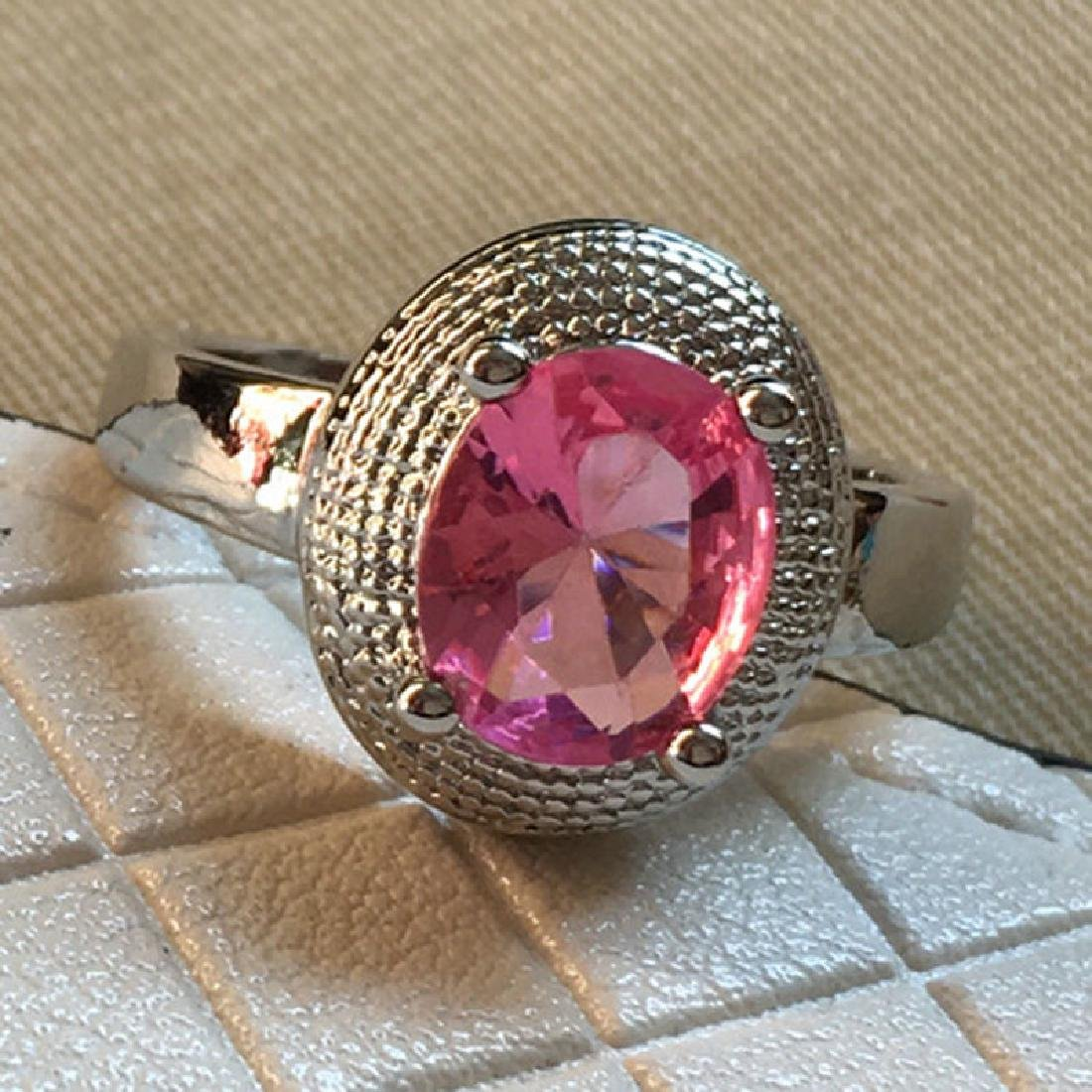 925 Silver Plated Big Crystal Ring