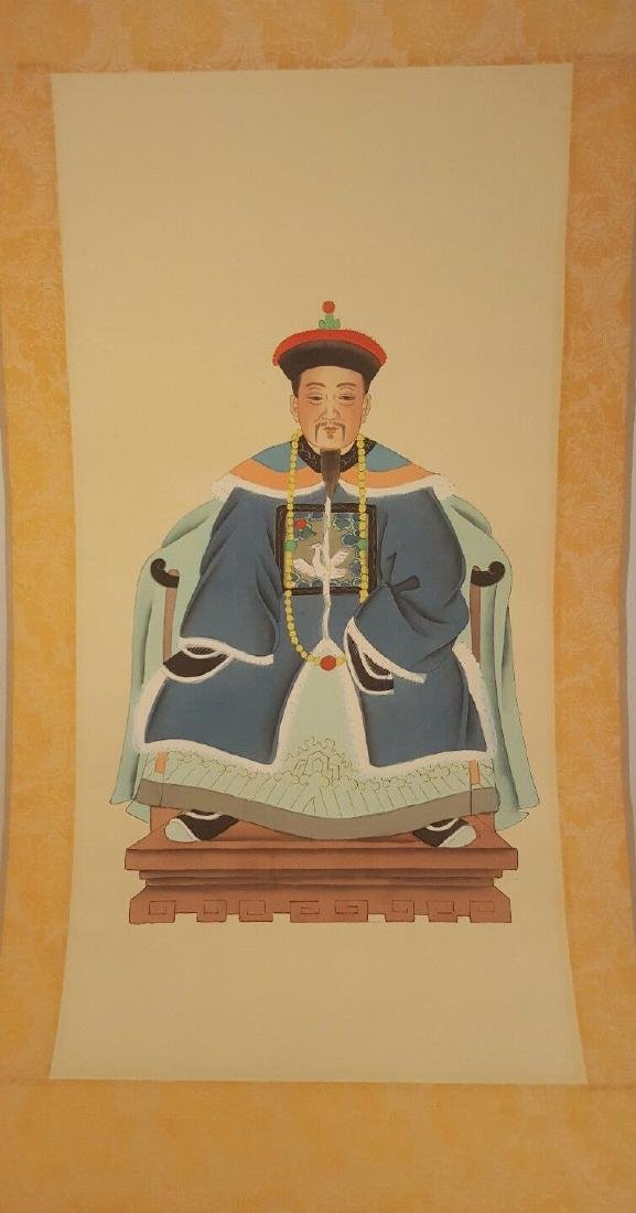 Chinese Emperor Scroll - Silk and paper painted