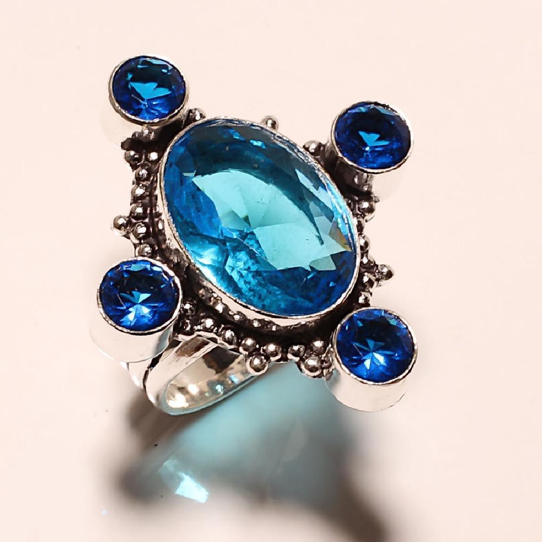 Blue Topaz 925 Sterling silver Ring:8.25