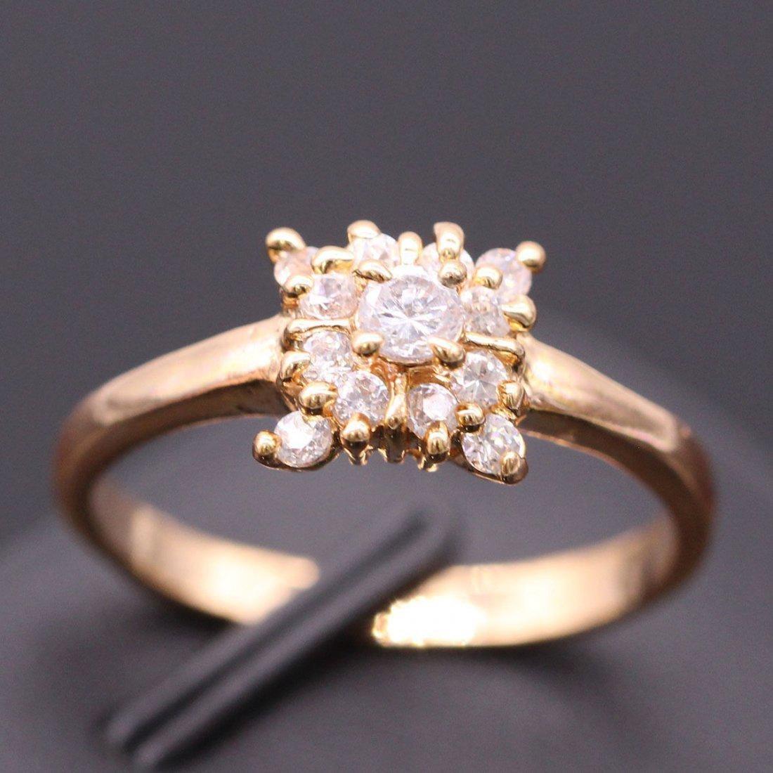 Square Women Ring White Crystal 24k GP Zircon Ring Size