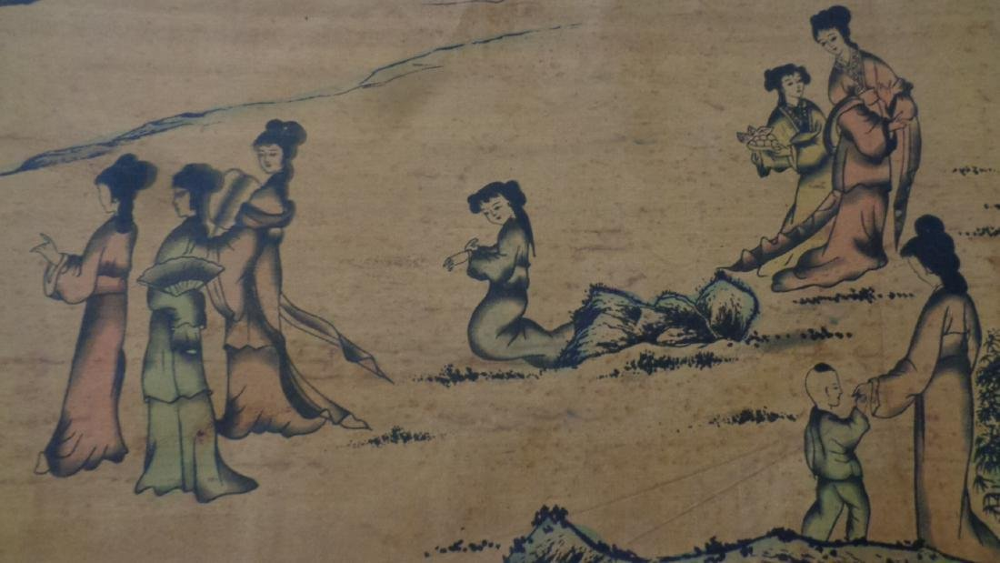 """Chinese Hand Painted Colored -Lady Scroll.Long 118""""x11"""""""