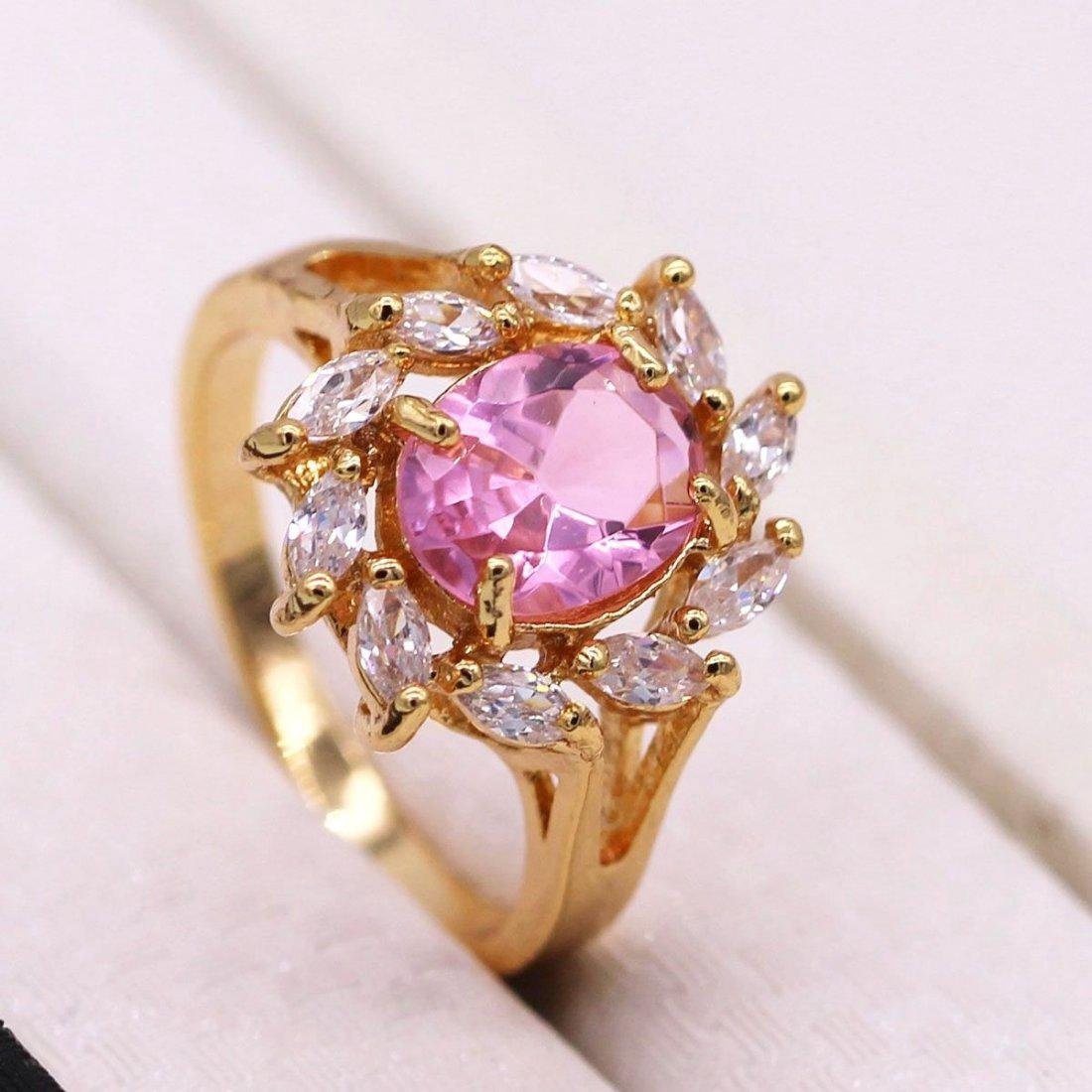 Pink CZ 18K Yellow GP Ring -Size :8