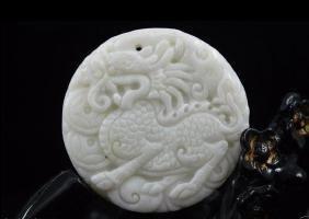 Natural whitem Jade Carved Amulet Pendant Kiri
