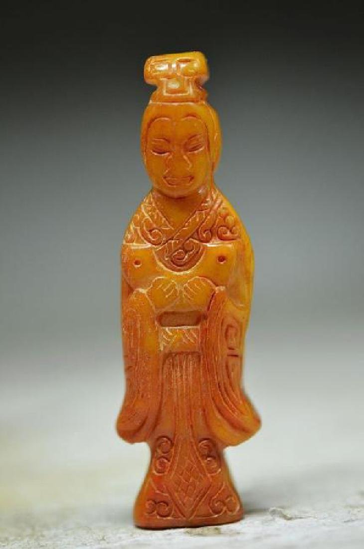 Antique Chinese  Hand-Carved Jade Lady Pendant