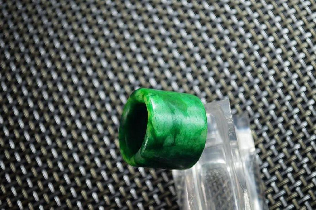 Natural Green Jade Carved  Ring