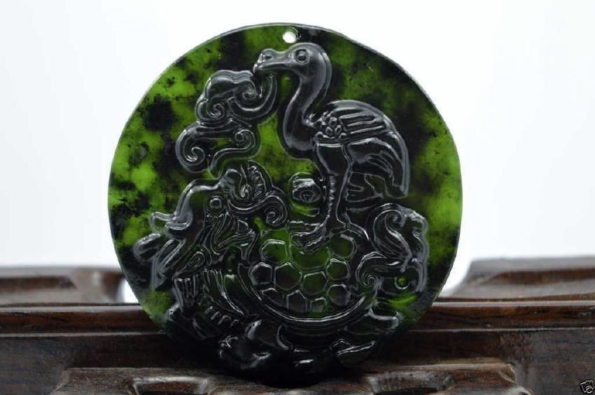 Jade nephrite carving black jade pendant