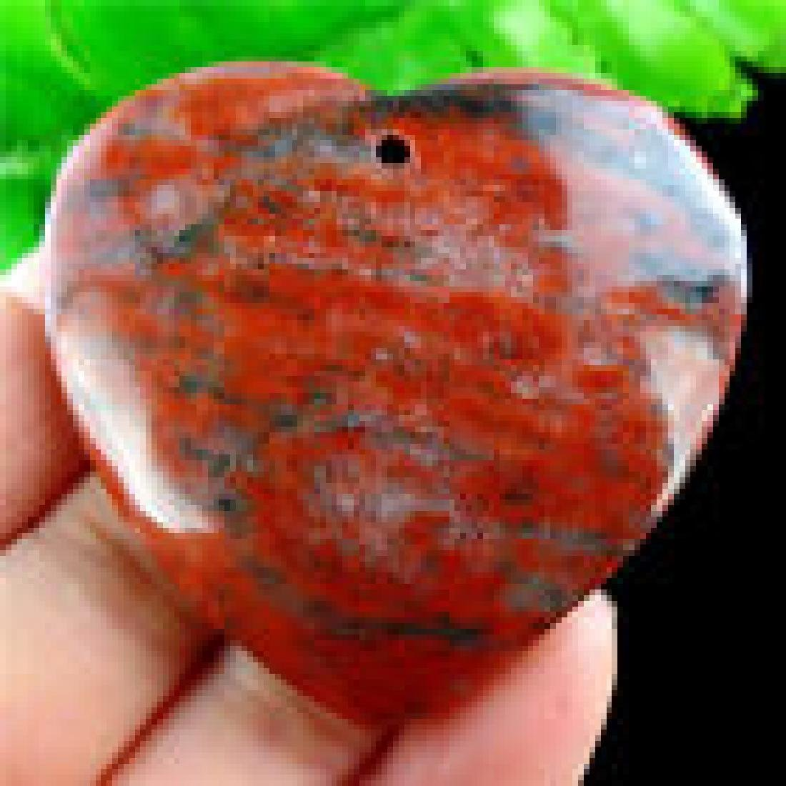 Natural Black Line Red Jasper Heart Pendant