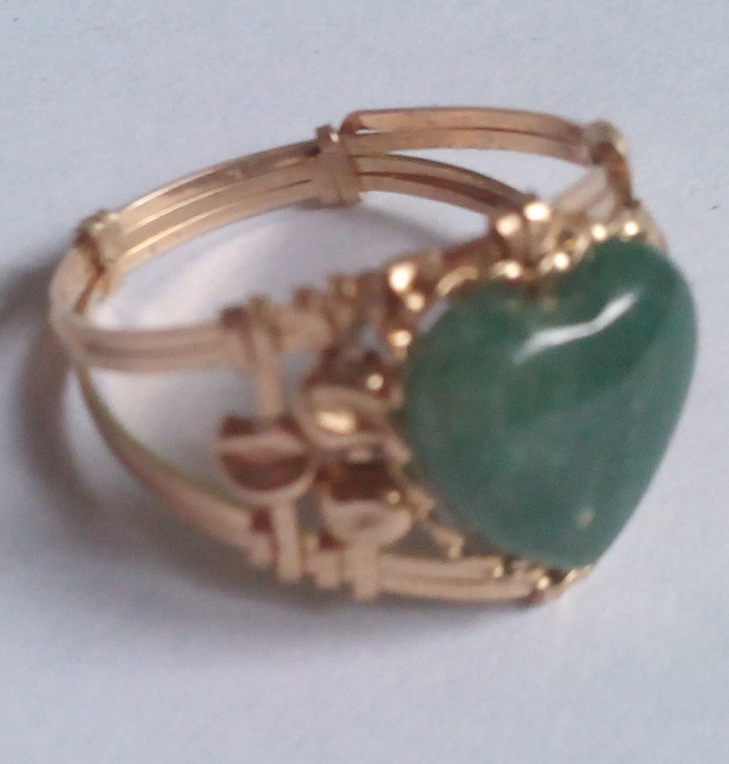 10k Solid Real Gold Ring with Real Green Heart Jade