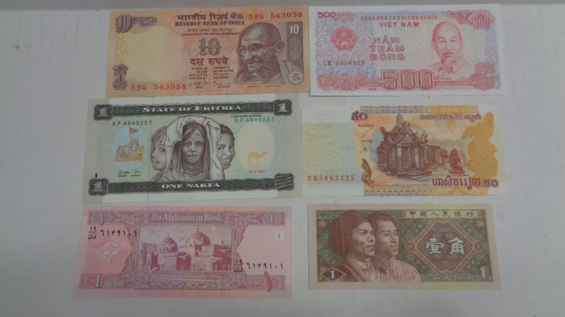 Lot of 6 Different Foreign PAPER MONEY BANKNOTES WORLD
