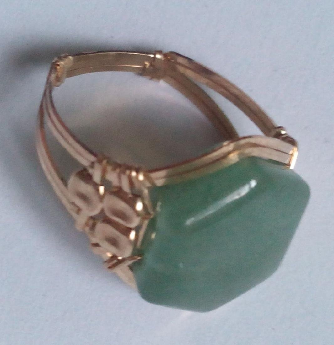 10k Solid Real Gold Ring with Real Green Jade