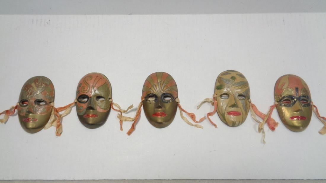 Lot of 5 Vintage Brass  Relief Hand Painted Mask
