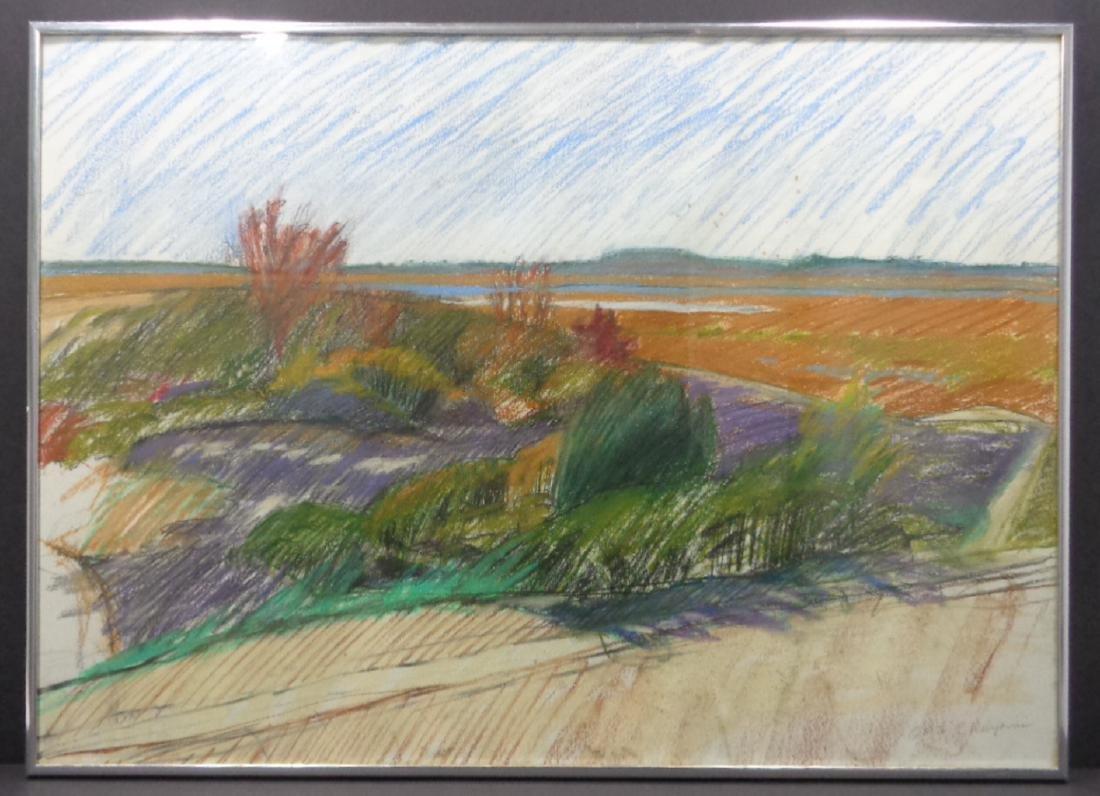 1976 E Delyanis Landscape Artist Study. Pastel-Chalk