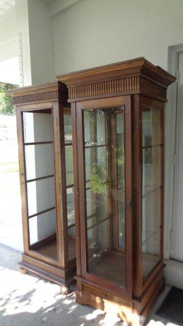 2 Lighted teak wood old display shelf cabinet