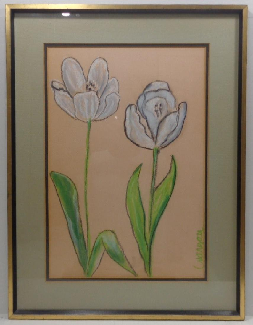 Original Signed Hand Painting Drawing Flower