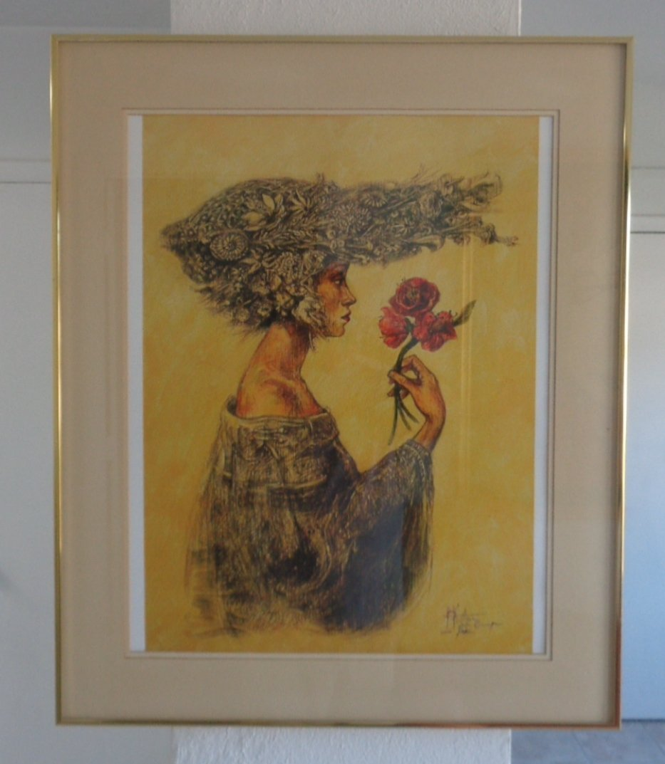 Original Cuban Lady with Flower Print