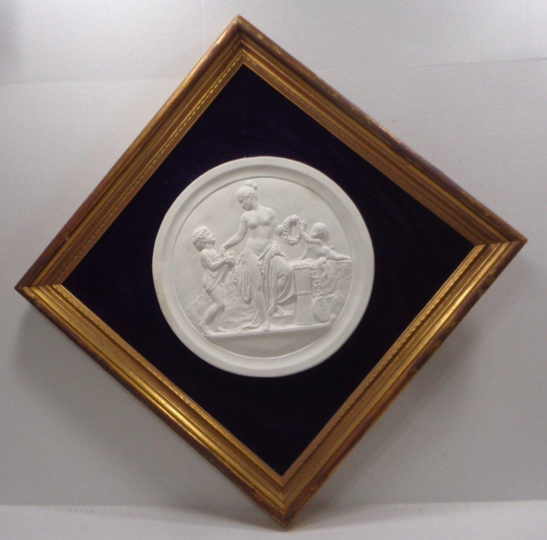 Large Vintage White Porcelain Relief Medallion Plaque