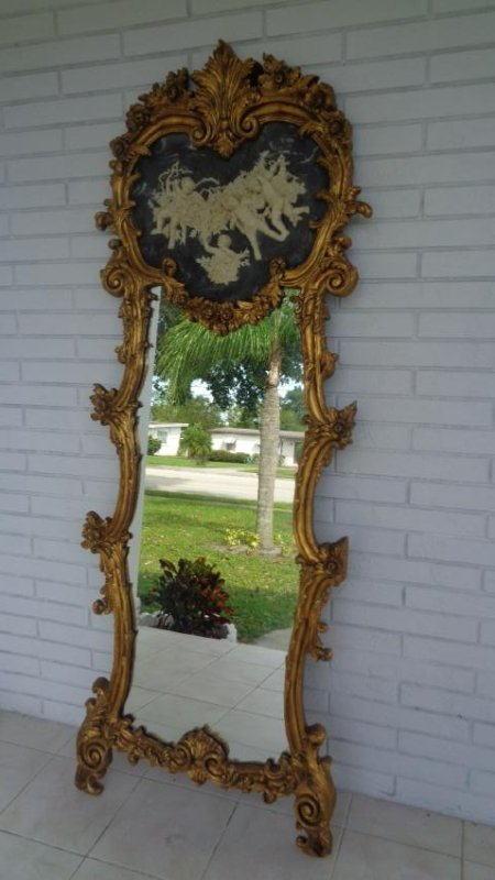 Cherub Bonded Marble -Gray Background- Gold Leaf Mirror