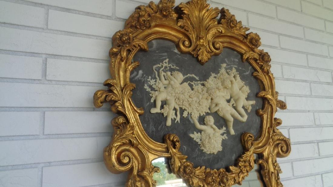 Cherub Bonded Marble -Gray Background- Gold Leaf Mirror - 2