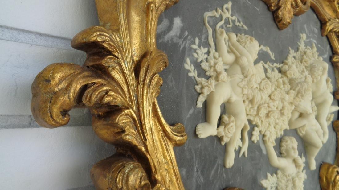 Cherub Bonded Marble -Gray Background- Gold Leaf Mirror - 3
