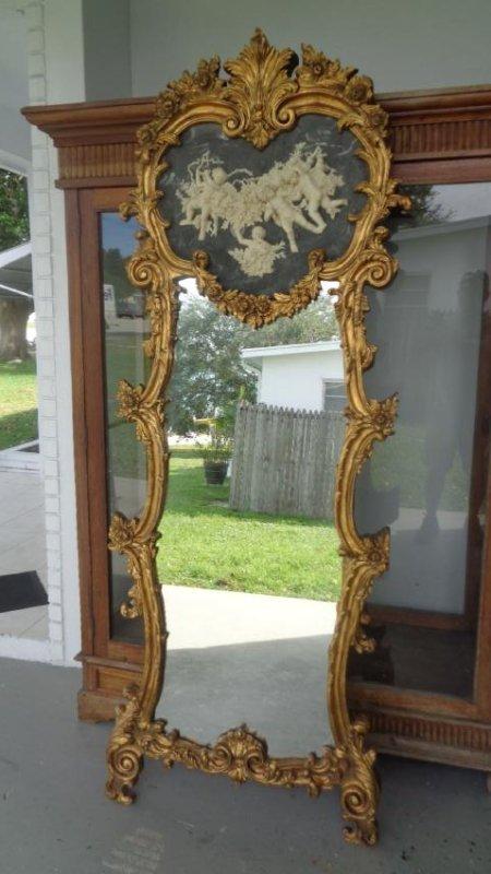 Cherub Bonded Marble -Gray Background- Gold Leaf Mirror - 5