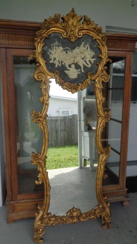 Cherub Bonded Marble -Gray Background- Gold Leaf Mirror - 6