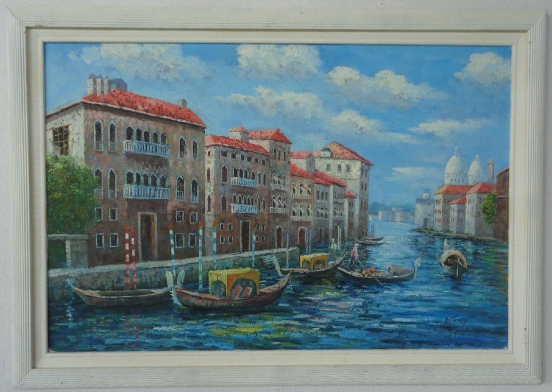 "Original B.Trapp ""Venice"" Oil Painting on Canvas"