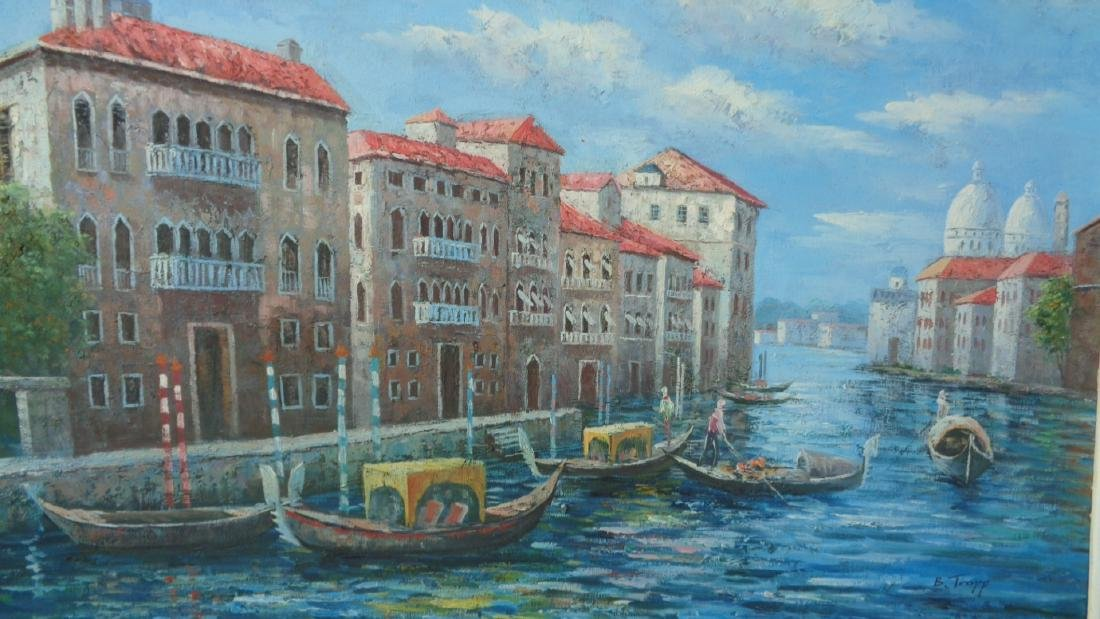 "Original B.Trapp ""Venice"" Oil Painting on Canvas - 2"