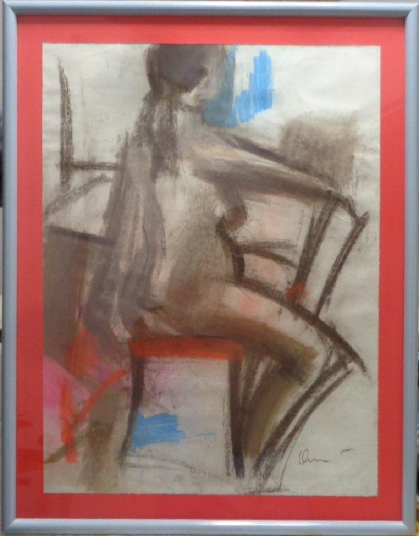 1969 Charcoal-Pastel Cubist Abstract Nude Lady Painting