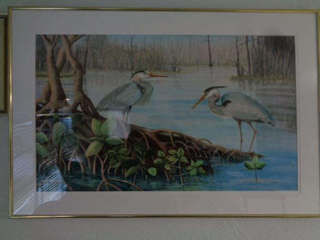 Great Large Blue Heron Painting Signed.