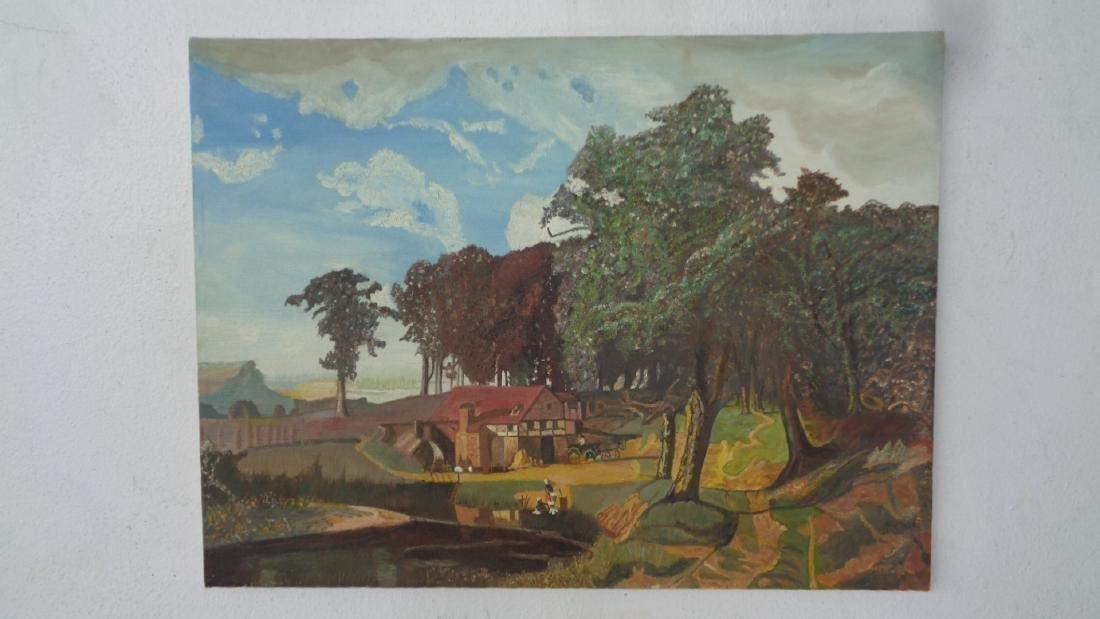 Vintage Farm Folk Art Oil Painting