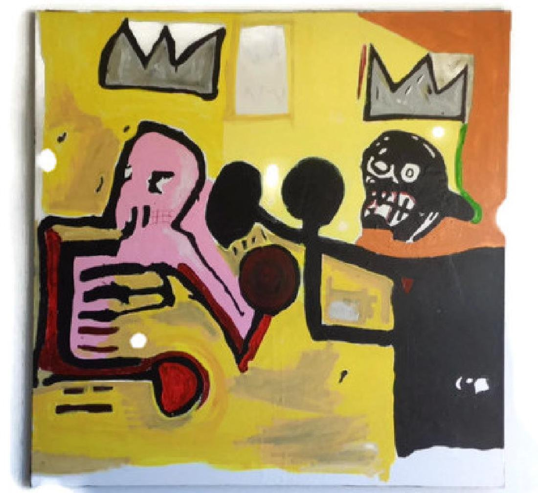 """Basquiat Style Painting """"World Crown"""""""