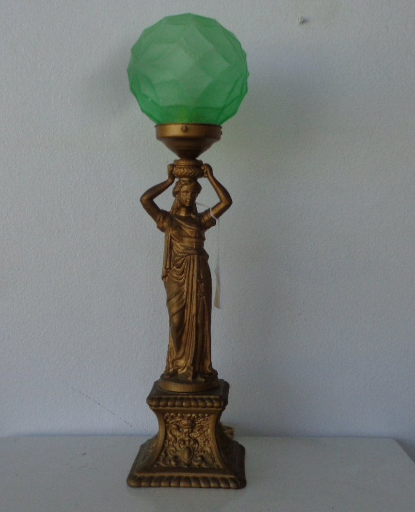 Art Deco Figural Table Lamp , Standing Female metal