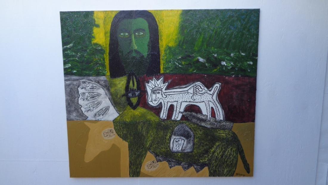 Large Painting Cuban Artist Michel Blazquez - Ciclo De
