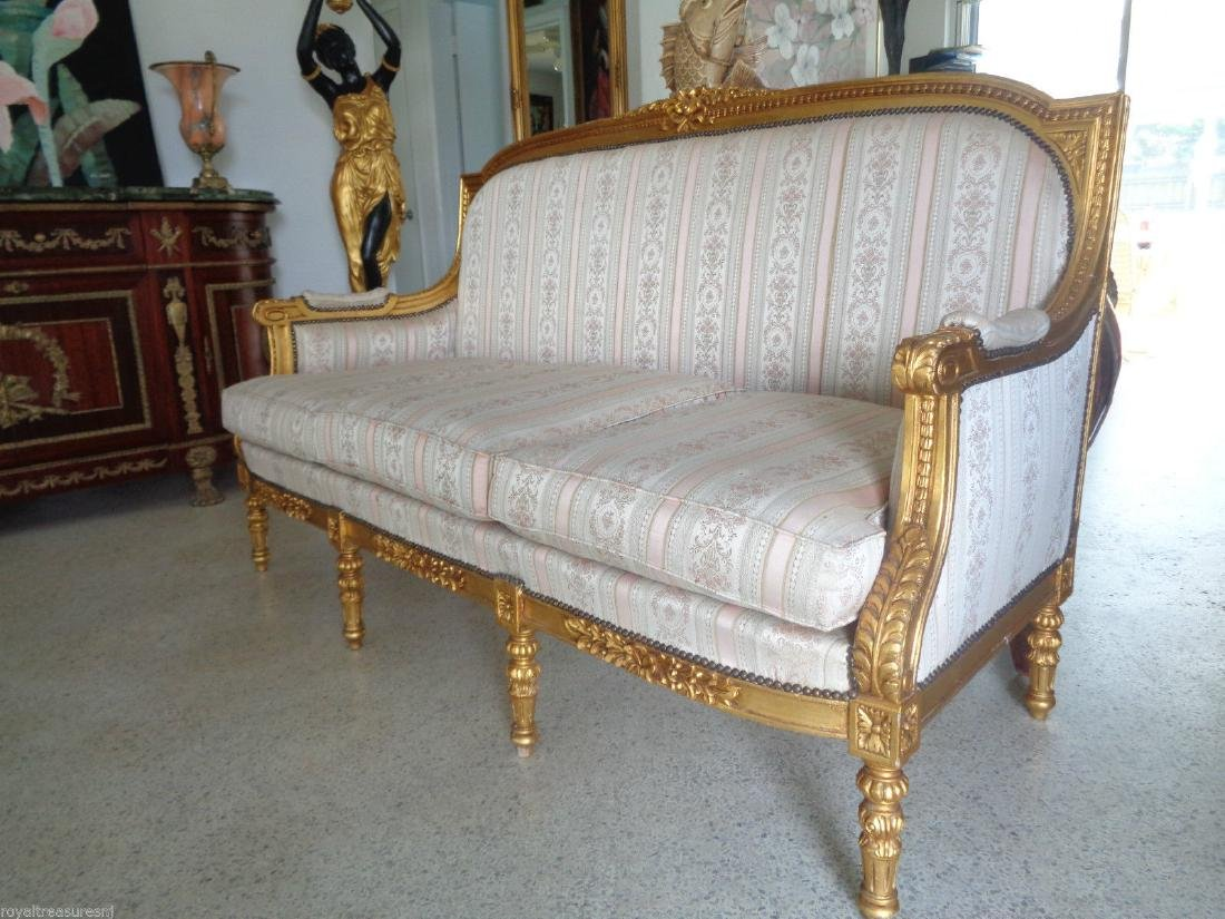 CARVED GILTWOOD SOFA SETTEE UPHOLSTERY - 2