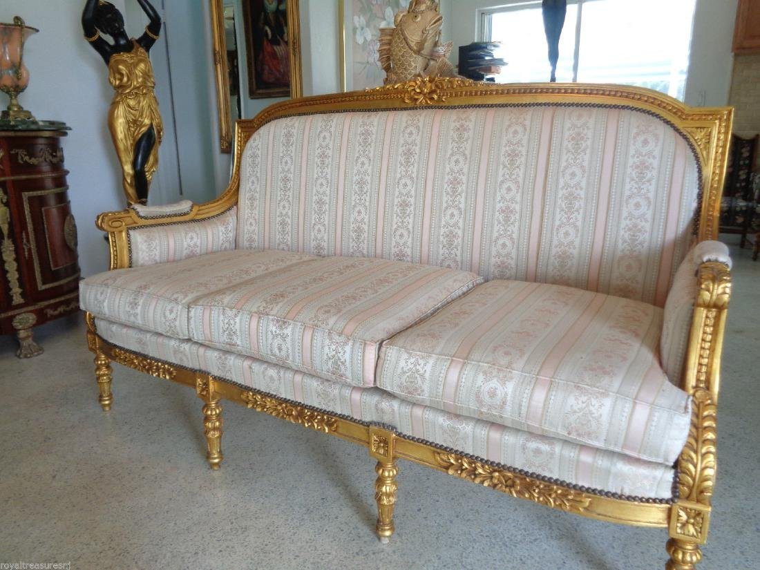 CARVED GILTWOOD SOFA SETTEE UPHOLSTERY - 4