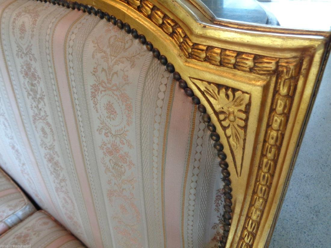 CARVED GILTWOOD SOFA SETTEE UPHOLSTERY - 8